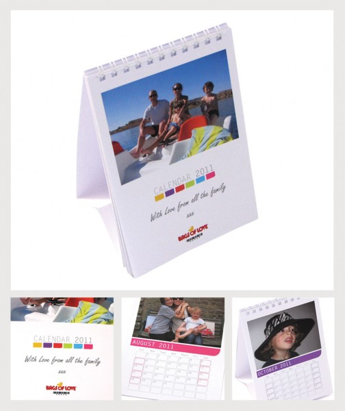 four different a6 size calendars with photos