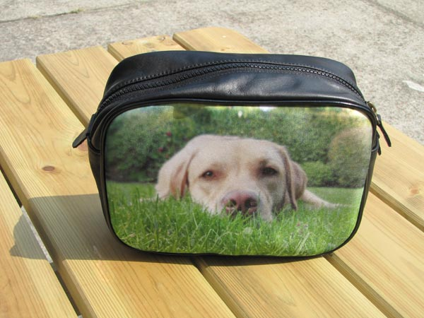 Black wash bag with a photo of a dog lying on grass