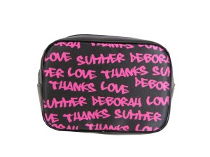 Black make-up bag with pink Graffiti words