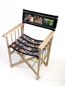 Director chair with filmstrip printed seat and back