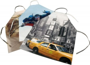 Three aprons with a new york photo, sky diving photo and cat photo
