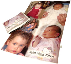 Large and small baby blankets with photo montage of baby photos