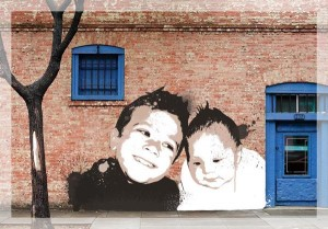 Banksy canvas prints of children on wall