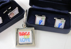 Boxes with photo cufflinks and metal bags of love keyring