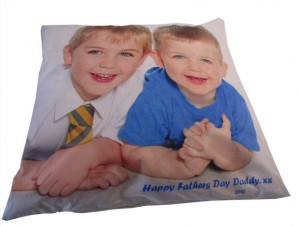 Floor cushion with two boys and father's day message printed on it