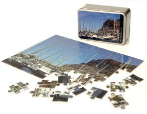 Harbour jigsaw puzzle and harbour tin box