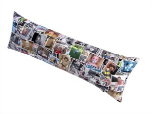 Sausage cushion with photo montage