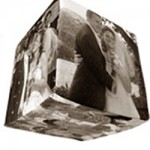 Photo cube with wedding photos in sepia