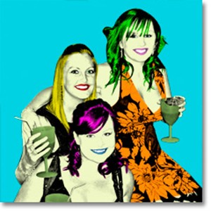 Three women holding drinks in andy Warhol style colouring
