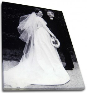 Couple on their wedding day on photo canvas print