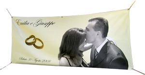 Couple, wedding rings and text on a custom banner
