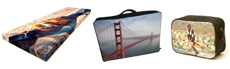 Mountains on photo canvas, bridge on laptop bag and a man skiing on wash bag