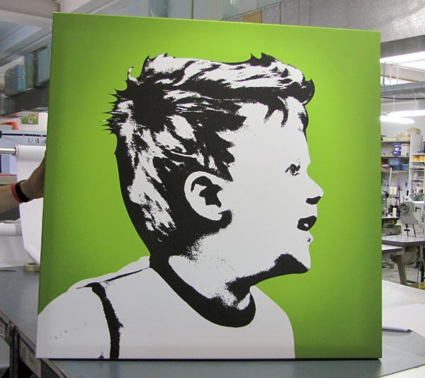 Boy on green Che style canvas printing