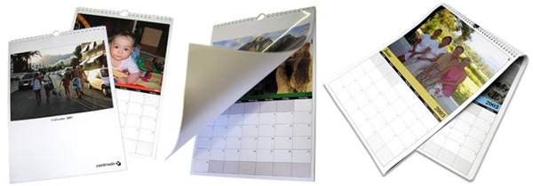 Three calendars with photos on them