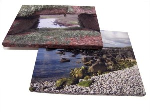 Stones and ocean on two photo canvas prints