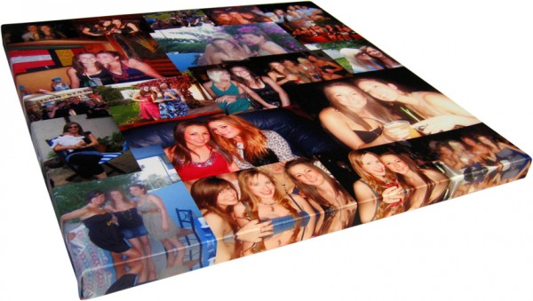 Friend photos in a photo montage on canvas