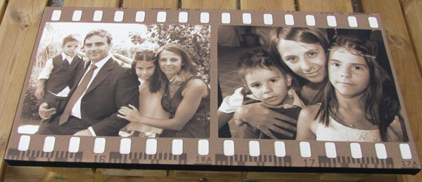 Two family photos on sepia filmstrip montage