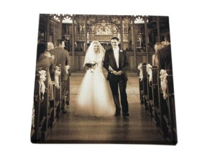 Couple walking down the aisle on a photo canvas print