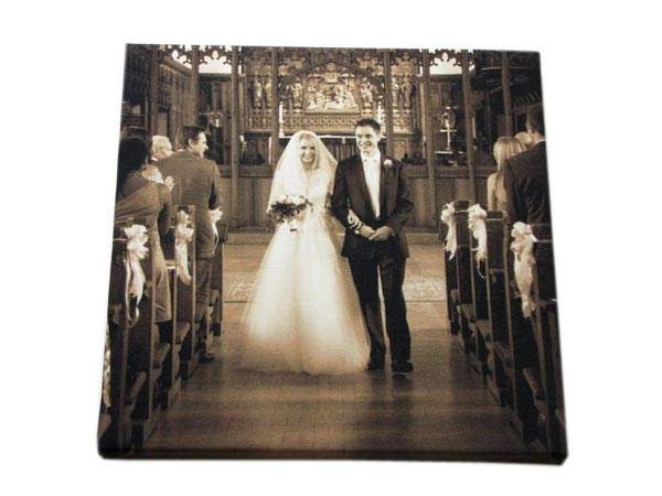 sepia wedding canvas art prints customised with favourite photos and designs