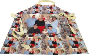 Family photo printed multiple times on apron