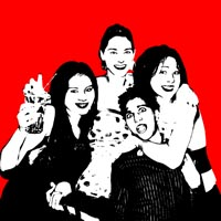 Four people in black and white on a red background