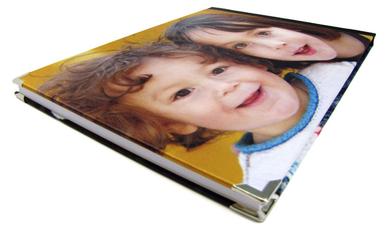 Two children on a photo book