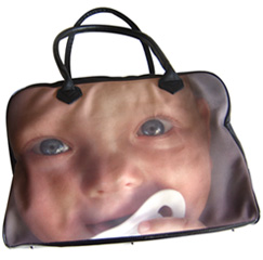 Holdall bag with a baby's face on it