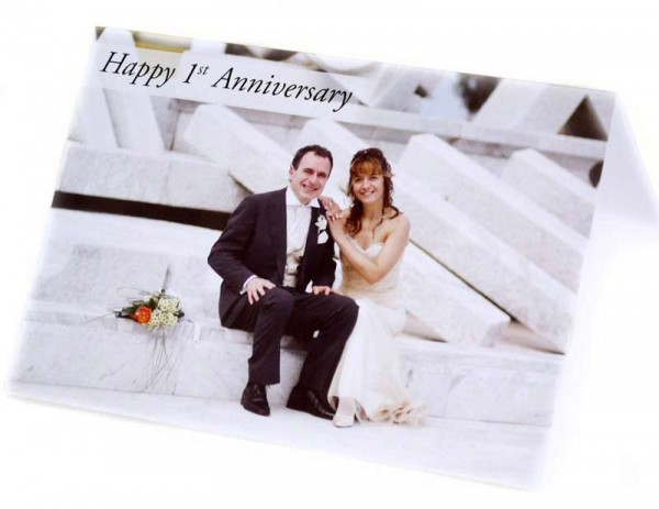 Couple on their wedding day on a greeting card