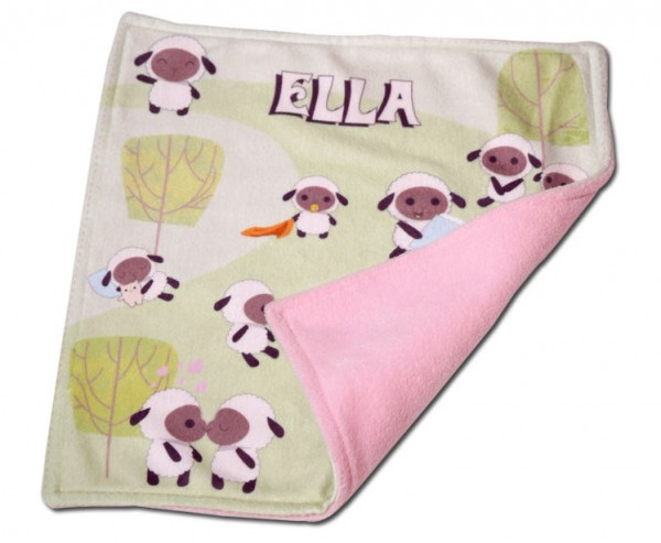 "Cartoons and the wiriting ""ella"" on a baby blanket"