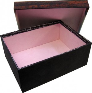 Open box with black exterior and pink interior