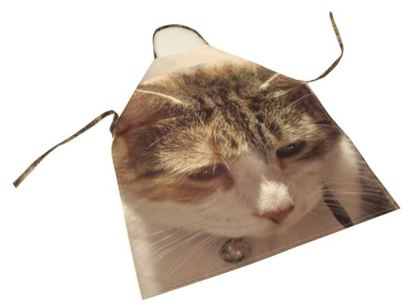 A cat's face on an apron