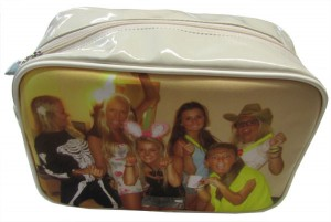 Dressed up girls on a beige make-up bag