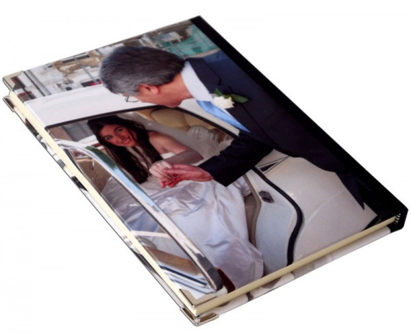 A bride on her wedding day on a journal book
