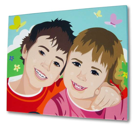 Boy and girl on a photo canvas print in cartoon style