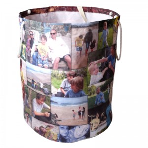 Open laundry bag with a photo montage on it