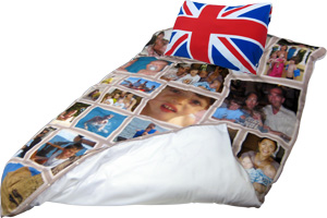 Duvet cover with photo montage and pillow with the union jack flag