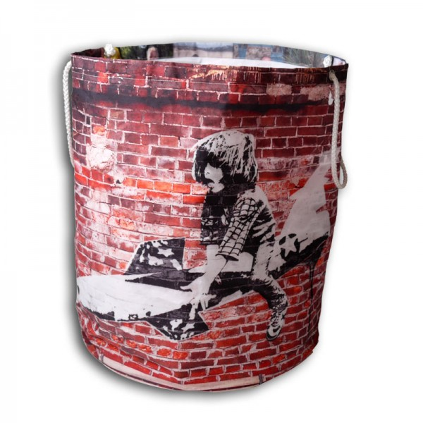 Laundry bag with boy in a banksy style image
