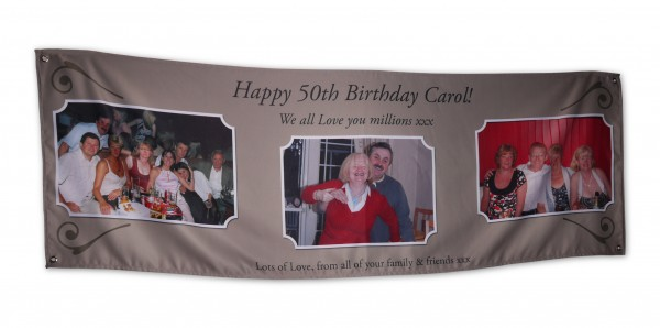 "Brown banner with ""happy 50th birthday carol!"" and three photos on it"