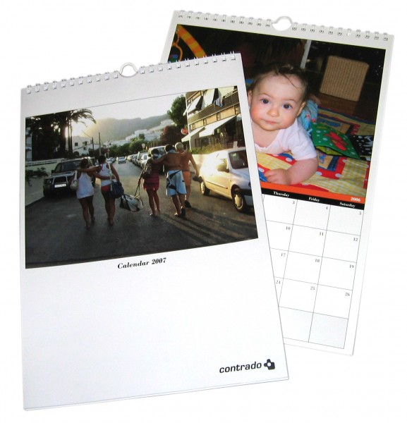 Two calendars with photos on them