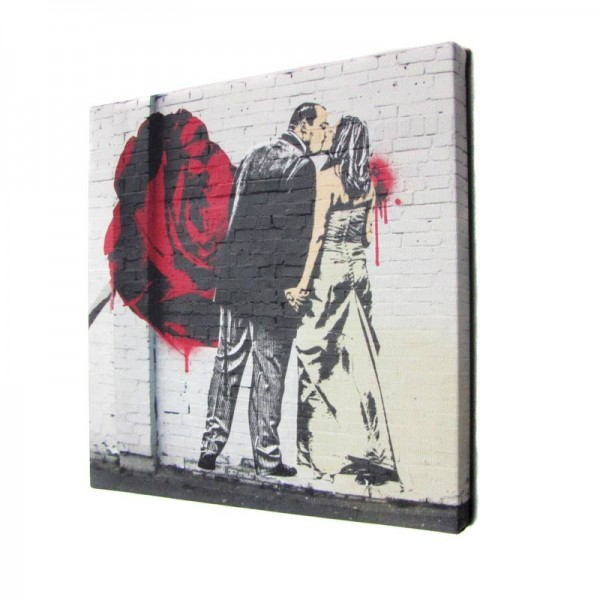Valentine's Day gifts Banksy wedding photo canvas of couple and rose
