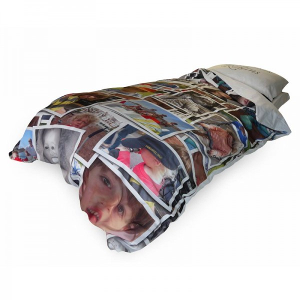 Duvet cover with photo montage on a bed
