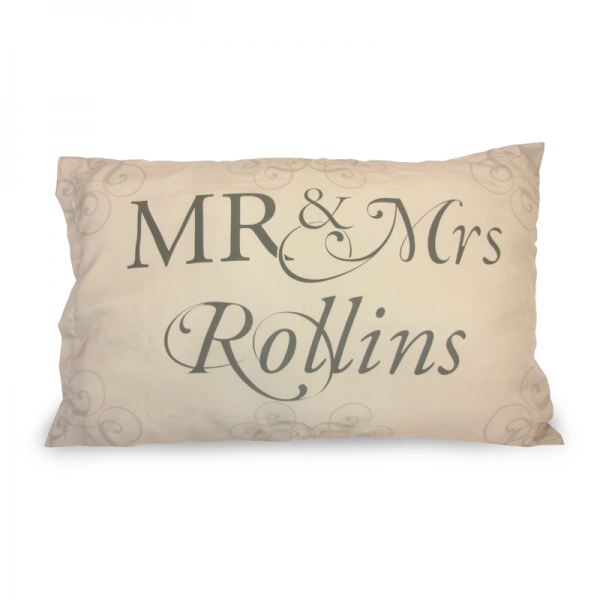 Mr and Mrs Rollins written on a beige pillow