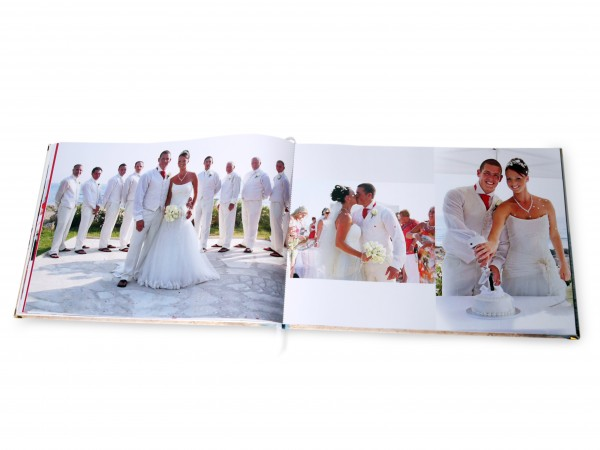 Wedding photos in an open photo book