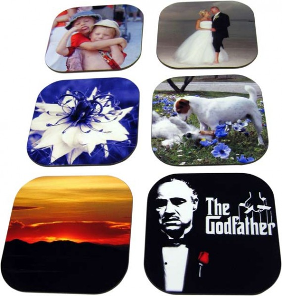 Six different coasters with photos and images