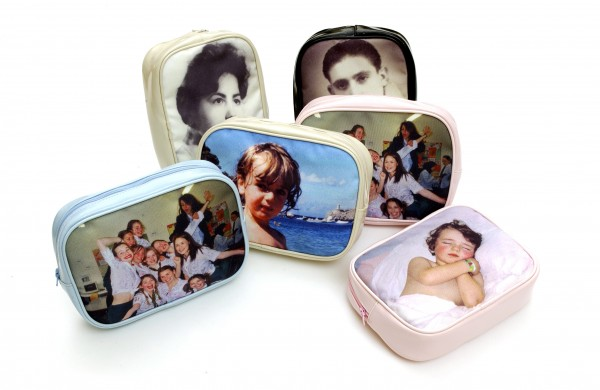 Assorted make-up bags with different photos on them