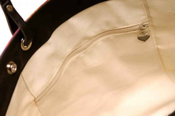 Detail view of pocket & zip inside a handbag