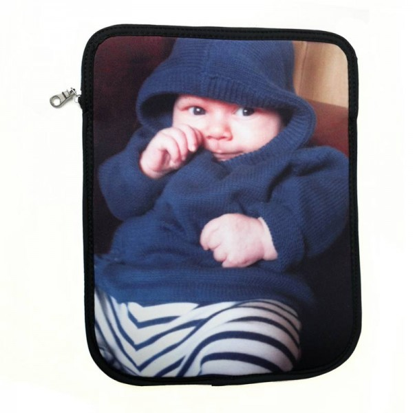 Baby in a blue hoodie on the cover of an iPad case