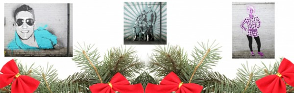 Three diffrent images in the style of Banksy with a christmas tree branches frame