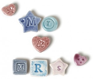 Fridge magnet letters spelling out Mr and Mrs