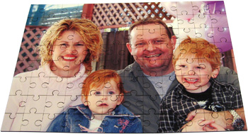 photo gifts family puzzle with picture of happy, smiling family